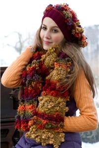 015 - GRUNDL FLOWER COLOR - COLOUR  CHUNKY KNITTING YARN - FREE HAT & SCARF PATTERN